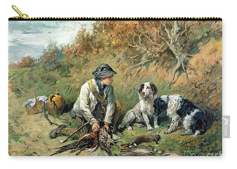 Pheasant; Rabbit; Hare; Gamekeeper; Bird; Shoot; Dog; Dogs; Game Keeper Carry-all Pouch featuring the painting The Day's Bag by John Emms