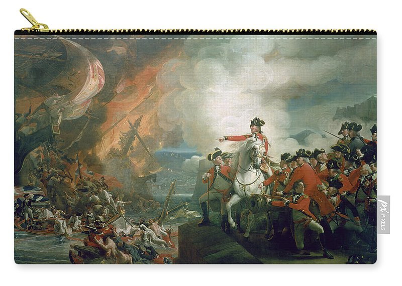 Battery Carry-all Pouch featuring the painting The Defear Of The Floating Batteries At Gibraltar by John Singleton Copley