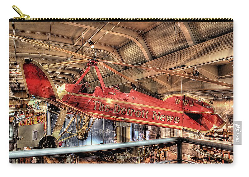 Carry-all Pouch featuring the photograph The Detroit News Airplane Dearborn Mi by Nicholas Grunas