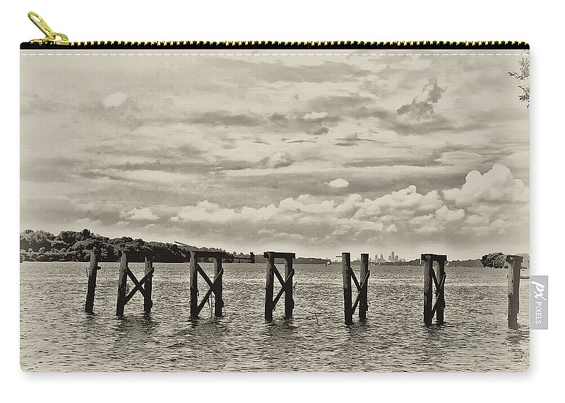 The Disappearing Pier Carry-all Pouch featuring the photograph The Disappearing Pier by Bill Cannon
