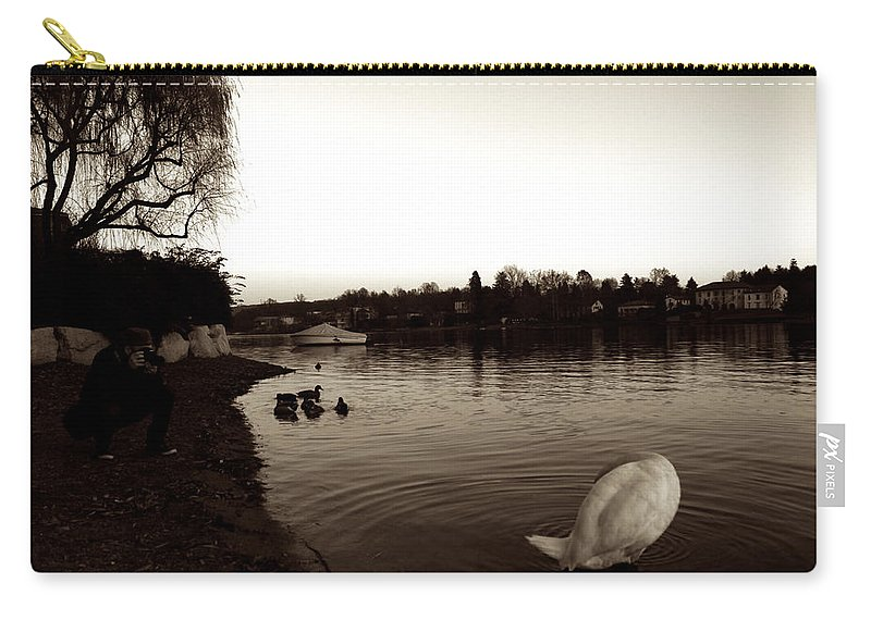Goose Carry-all Pouch featuring the photograph The Disinterested Goose And I by Donato Iannuzzi