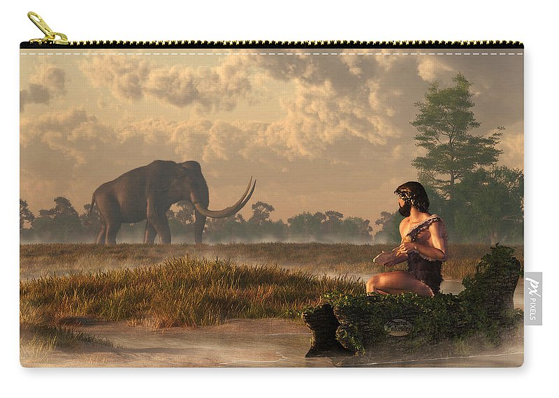 Mammoth Carry-all Pouch featuring the digital art The First American Wildlife Artist by Daniel Eskridge