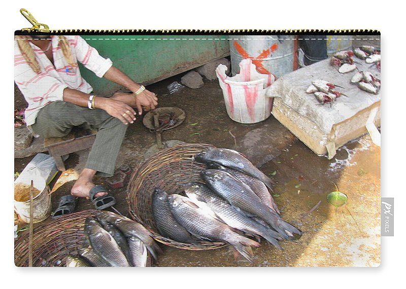Fish Carry-all Pouch featuring the photograph The Fish Seller by David Pantuso