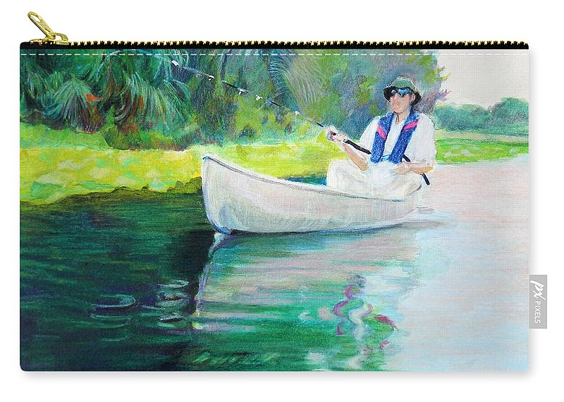 Fishing Carry-all Pouch featuring the mixed media The Fisherman by Sheila Wedegis