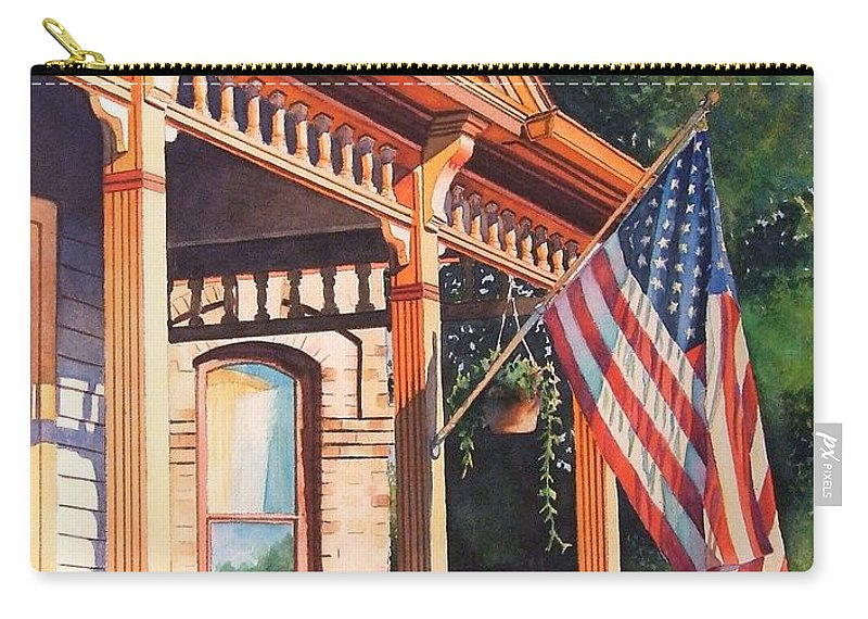 Historic Home Carry-all Pouch featuring the painting The Founders Home by Greg and Linda Halom