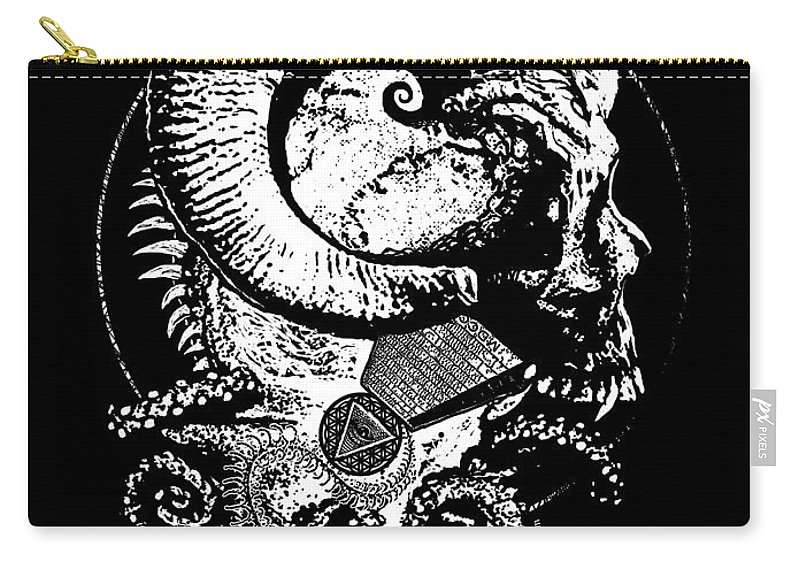 Tony Koehl Carry-all Pouch featuring the mixed media The Great Horned Secret by Tony Koehl