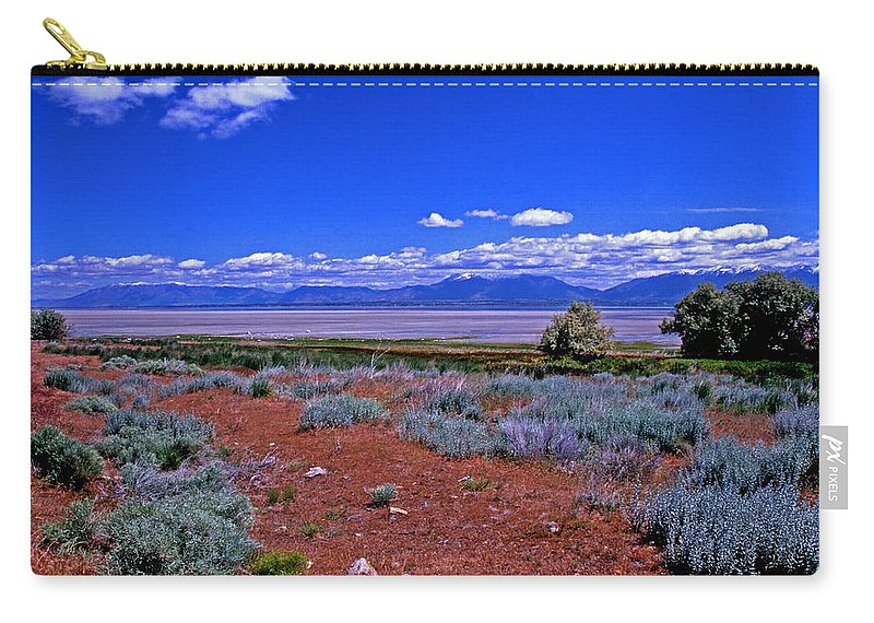 Utah Carry-all Pouch featuring the photograph The Great Salt Lake From Antelope Island by Rich Walter