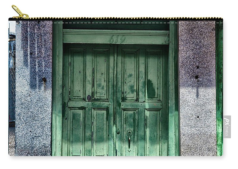 The Green Door In The French Quarter Carry-all Pouch featuring the photograph The Green Door In The French Quarter by Bill Cannon