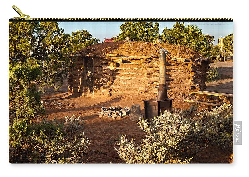 Canyon De Chelly Carry-all Pouch featuring the photograph The Hogan Near Spider Rock by Bob and Nadine Johnston