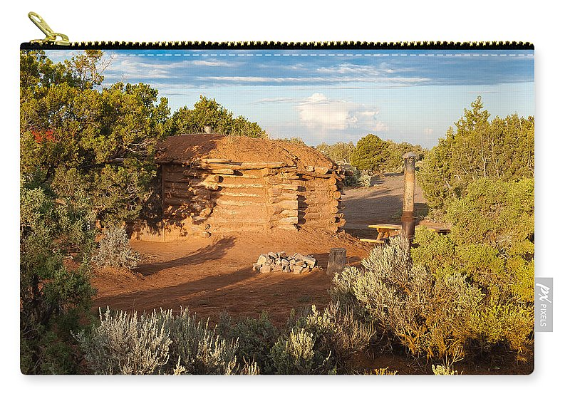 Canyon De Chelly Carry-all Pouch featuring the digital art The Hogan Where We Stayed Canyon Dechelly Nps by Bob and Nadine Johnston