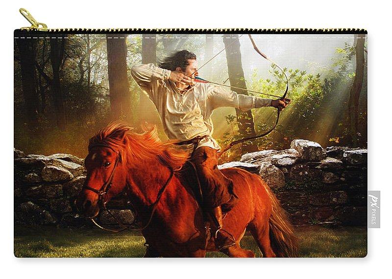 Hunter Carry-all Pouch featuring the digital art The Hunter by Karen Koski