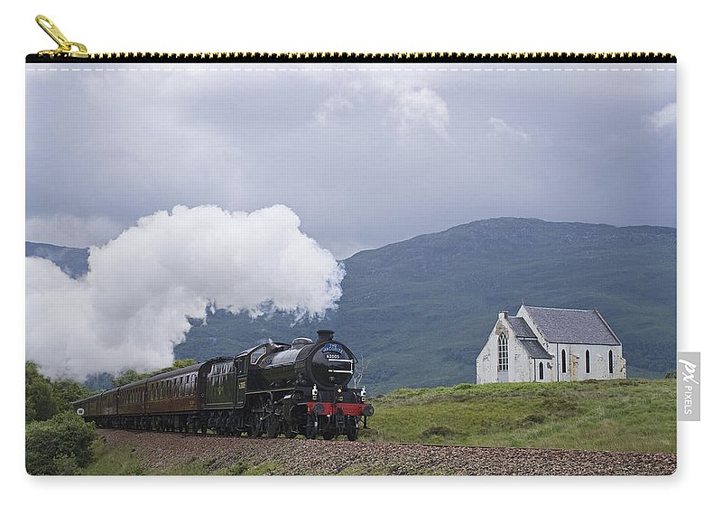 Train Carry-all Pouch featuring the photograph The Jacobite Express At Lochailort Church by Howard Kennedy