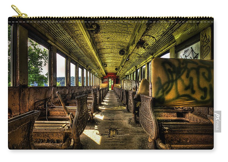 Train Carry-all Pouch featuring the photograph The Journey Ends by Evelina Kremsdorf