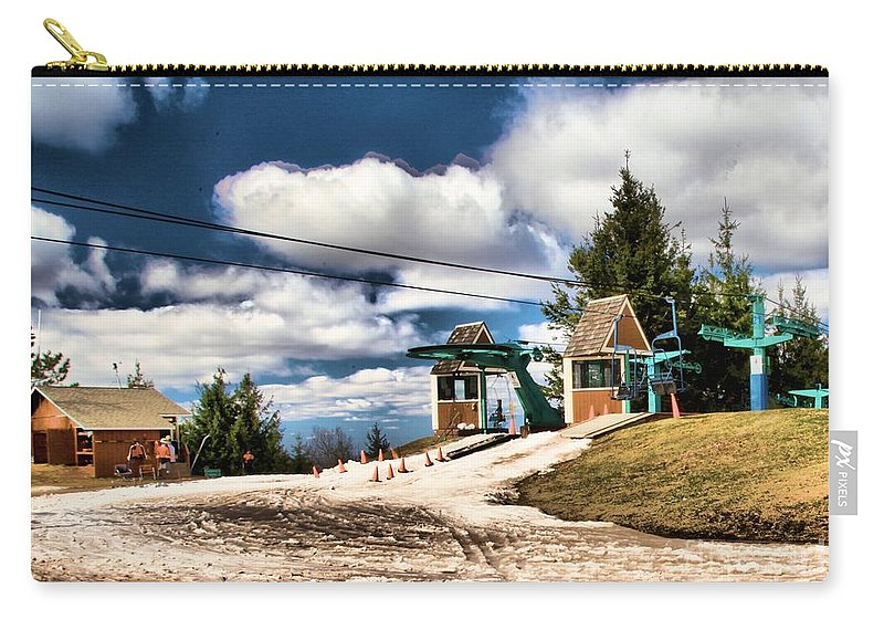 Skiing Carry-all Pouch featuring the photograph The Last Chair by Adam Jewell