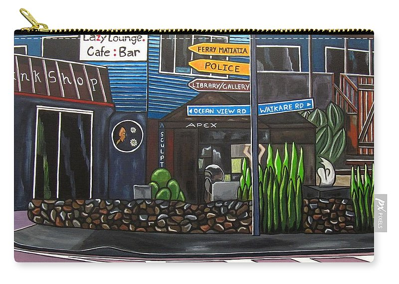 Pictures Of Buildings Carry-all Pouch featuring the painting The Lazy Lounge by Sandra Marie Adams