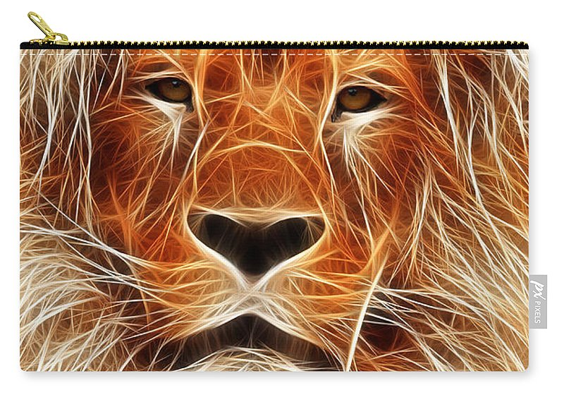 Lion Painting Digital Animal Danger Cat Face Expressionism Impressionism Jungle Carry-all Pouch featuring the digital art The Lion Sleeps Tonight by Steve K