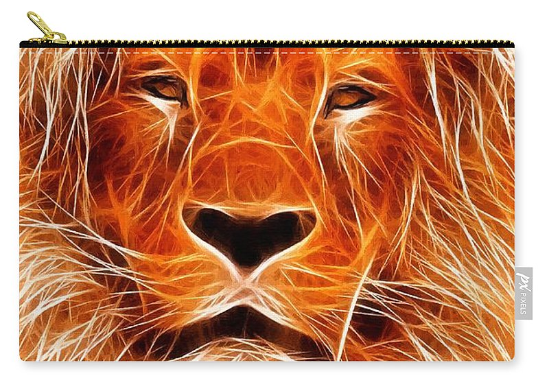 Lion Painting Acrylic Canvas Expressionism Impressionism Animal Jungle Africa Carry-all Pouch featuring the painting The Lions King by Steve K