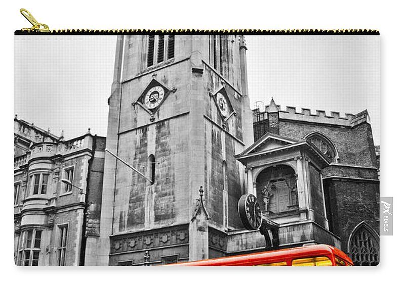 Bus Carry-all Pouch featuring the photograph The London Bus by Dawn OConnor