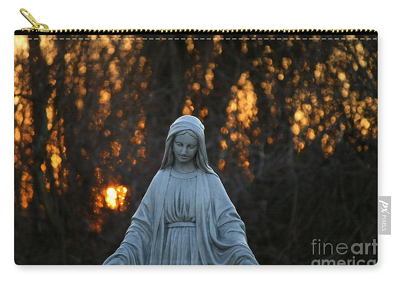 Mother Mary Statue Carry-all Pouch featuring the photograph The Offering by Neal Eslinger