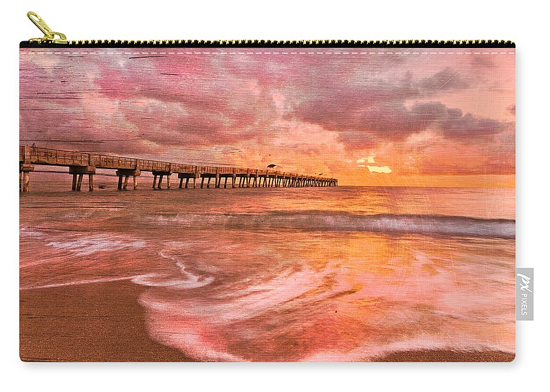 Clouds Carry-all Pouch featuring the photograph The Old Fishing Pier by Debra and Dave Vanderlaan