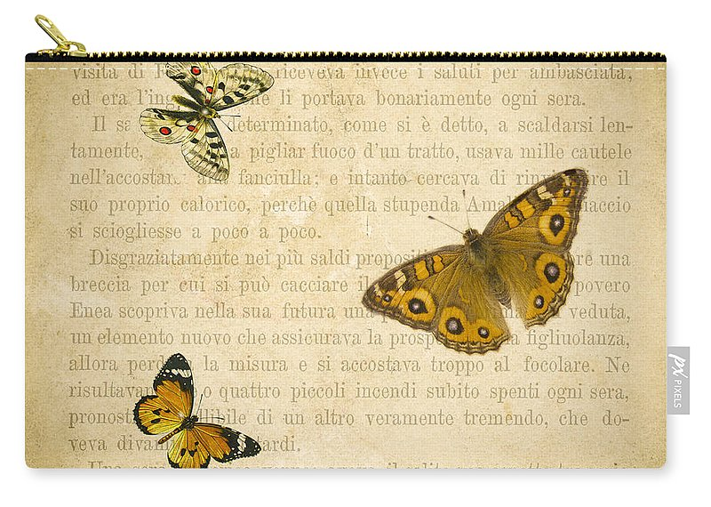 Aged Carry-all Pouch featuring the digital art The Printed Page 1 by Jan Bickerton
