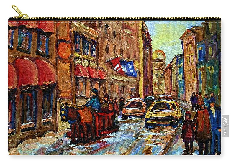 Horses Carry-all Pouch featuring the painting The Red Sled by Carole Spandau