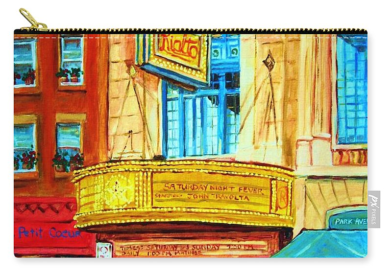 Street Scene Carry-all Pouch featuring the painting The Rialto Theatre by Carole Spandau