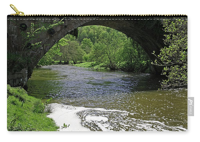 Derbyshire Carry-all Pouch featuring the photograph The River Dove Beneath Coldwall Bridge by Rod Johnson