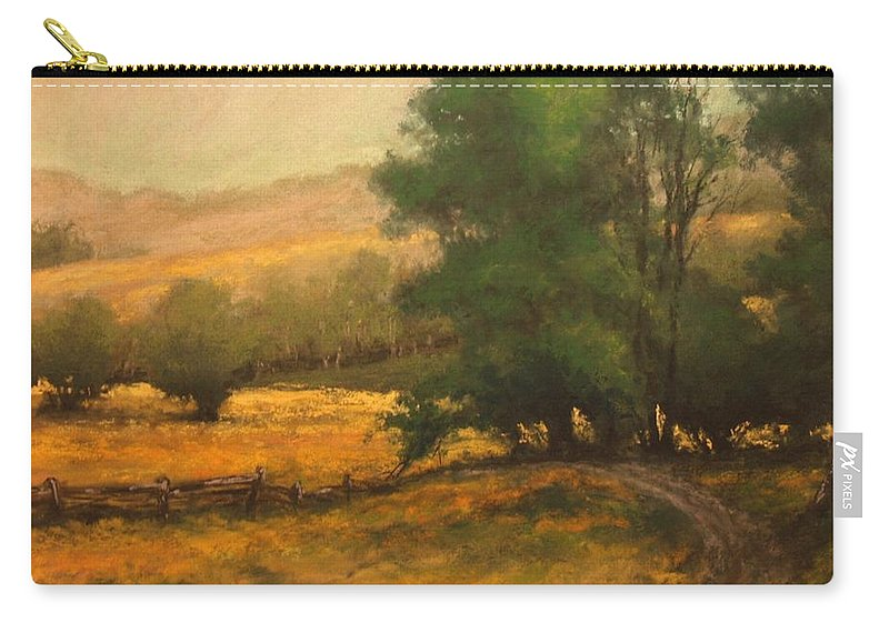 Painting Carry-all Pouch featuring the painting The Road Less Traveled by Jim Gola