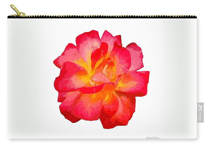 The Rose Patchwork Carry-all Pouch featuring the digital art The Rose Patchwork by Gabriele Ervin