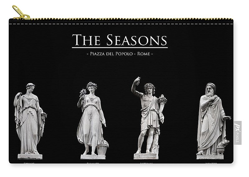 Black Background Carry-all Pouch featuring the photograph The Seasons by Fabrizio Troiani