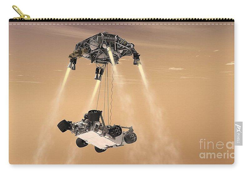 Sky Crane Carry-all Pouch featuring the digital art The Sky Crane Maneuver by Stocktrek Images
