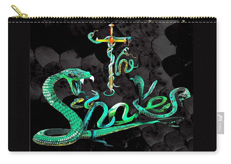 Fantasy Carry-all Pouch featuring the painting The Snakes Live In Europe by Penny Golledge