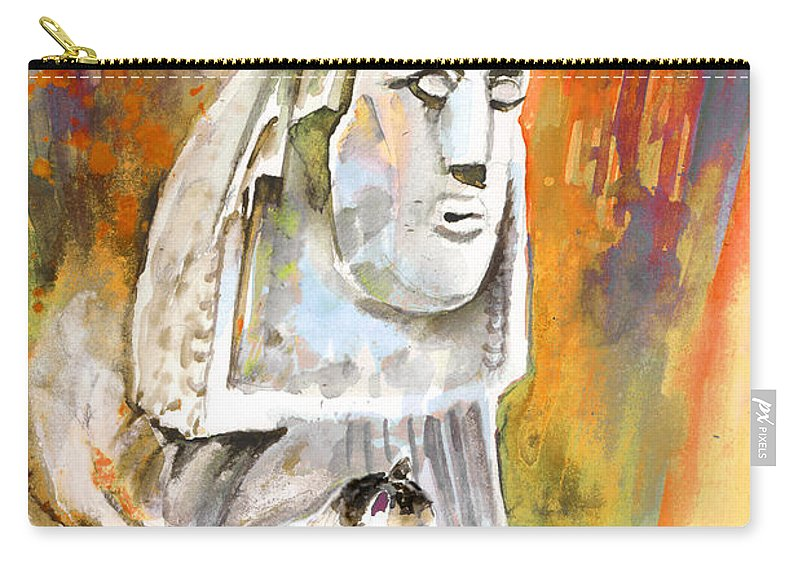 Travel Painting Carry-all Pouch featuring the painting The Sphinx Of Petraion by Miki De Goodaboom