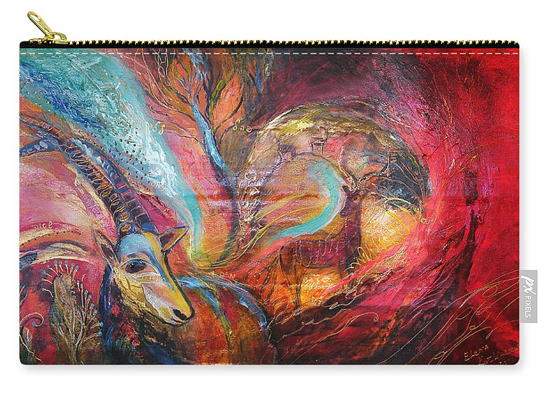 Original Carry-all Pouch featuring the painting The Spirit Of Ein Gedi by Elena Kotliarker