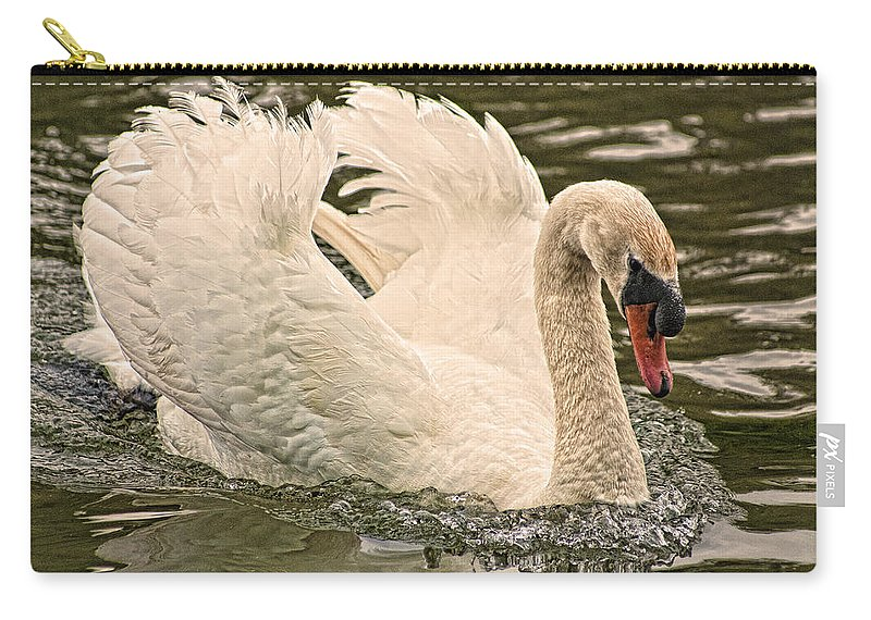 Swan Carry-all Pouch featuring the photograph The Swan by Steve Purnell