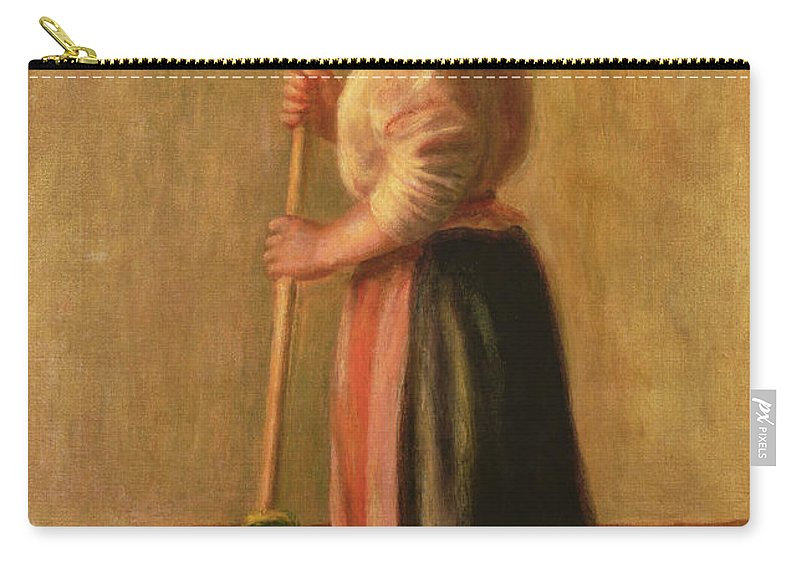 La Balayeuse; Domestic Chore; Female; Maid; Servant; Broom; Brush; Sweeping; Jug; Ewer; Impressionist; Cleaning; Floor; Balai; Balayeur Carry-all Pouch featuring the painting The Sweeper by Pierre Auguste Renoir