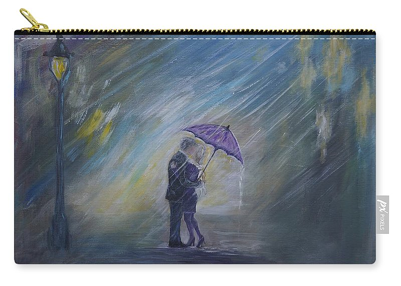 Couple Art Carry-all Pouch featuring the painting The Taxi Is Coming by Leslie Allen