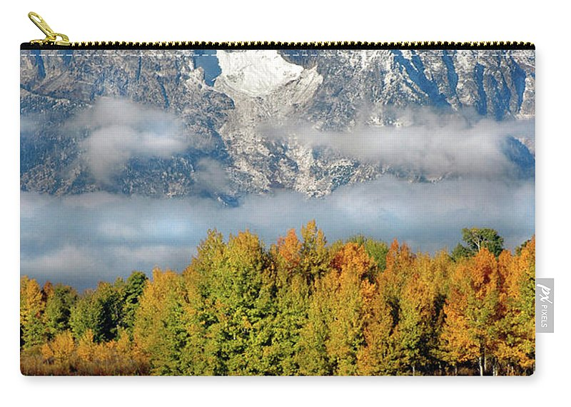 Grand Tetons Carry-all Pouch featuring the photograph The Tetons In Autumn by Dave Mills