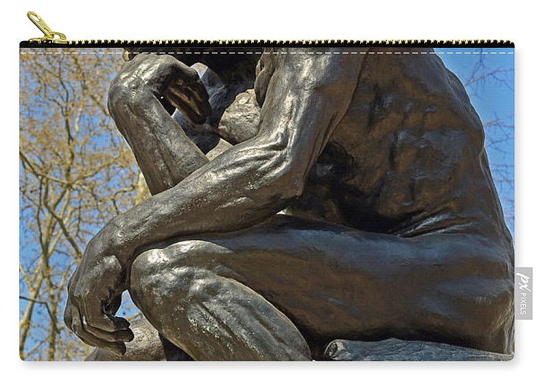 The Thinker By Rodin Carry-all Pouch featuring the photograph The Thinker By Rodin by Lisa Phillips
