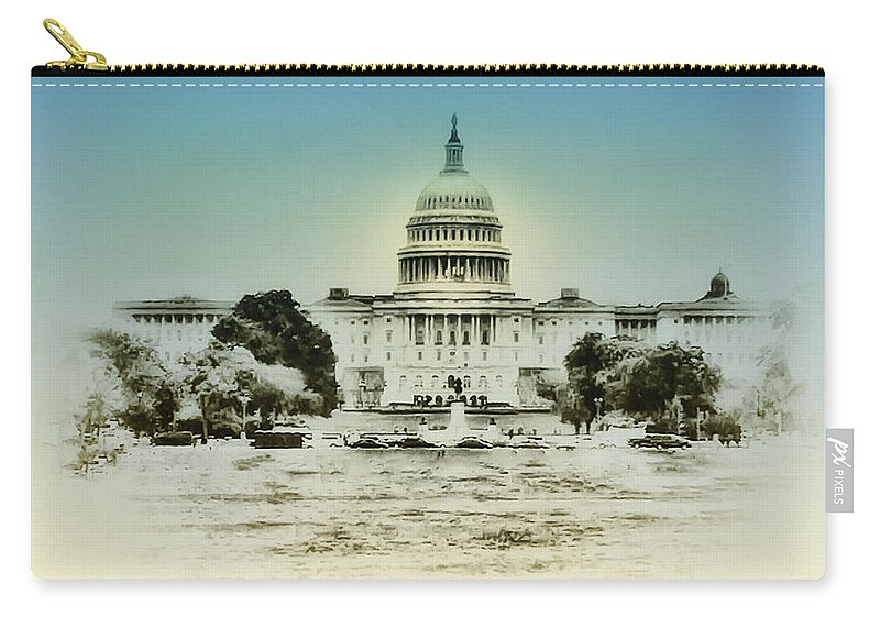 The United States Capital Building Carry-all Pouch featuring the photograph The United States Capital Building by Bill Cannon