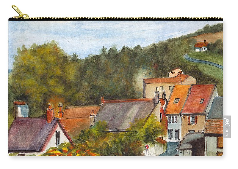 French Village Carry-all Pouch featuring the painting The Village Of Billy by Dai Wynn