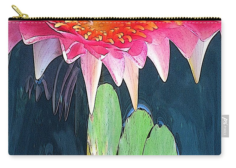 Water Lily Carry-all Pouch featuring the digital art The Water Lily Unleashed by Tim Allen