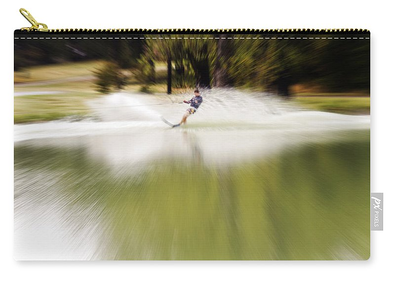 The Water Skier Carry-all Pouch featuring the photograph The Water Skier 1 by Douglas Barnard