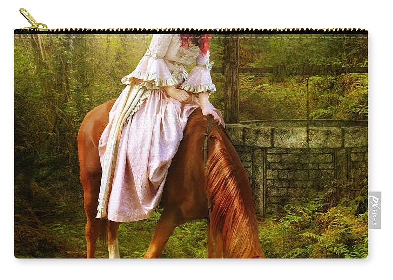 Horse Carry-all Pouch featuring the digital art The Waterhole by Karen Koski