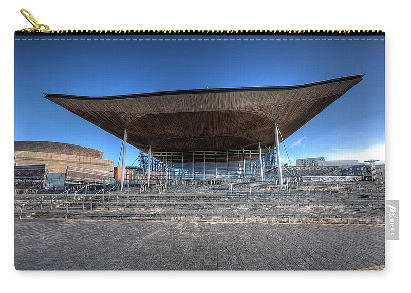 The Welsh Assembly Building Carry-all Pouch featuring the photograph The Welsh Assembly Building 2 by Steve Purnell