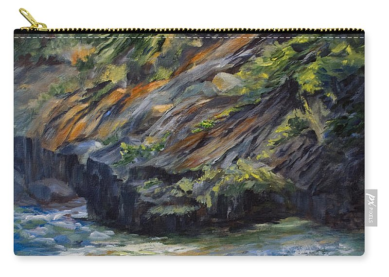 Shoreline Carry-all Pouch featuring the painting The Whiteshell Shoreline by Jo Smoley