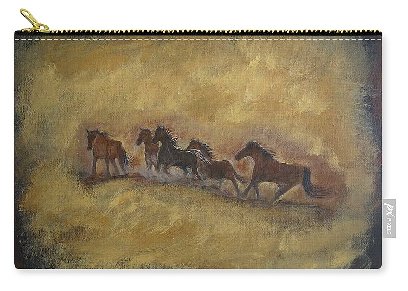 Horse Painting Carry-all Pouch featuring the painting The Wild And Free Ones by Leslie Allen