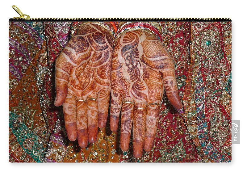 Clothes Carry-all Pouch featuring the photograph The Wonderfully Decorated Hands And Clothes Of An Indian Bride by Ashish Agarwal