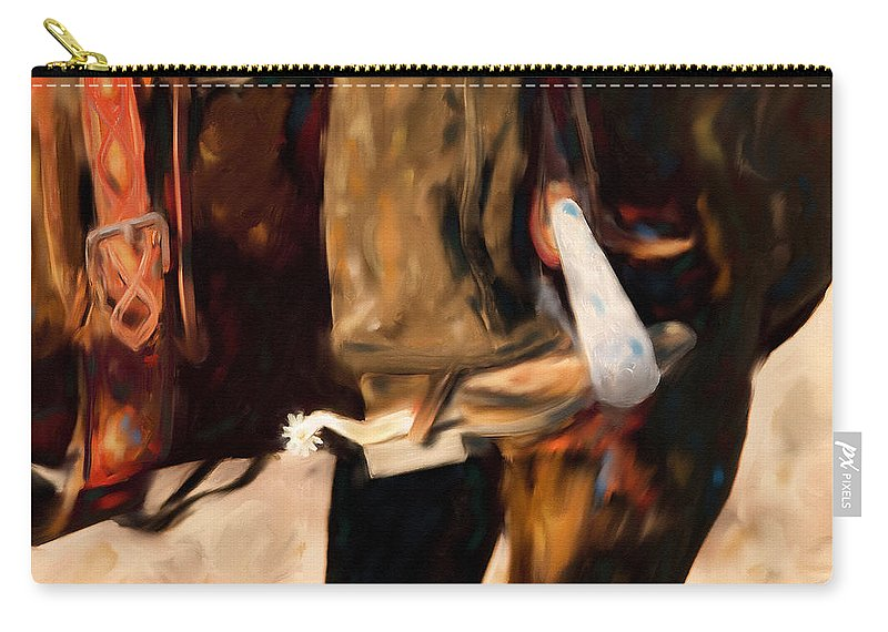 Horse Art Canvas Prints Carry-all Pouch featuring the painting These Boots Were Made For Workin' by Michelle Wrighton
